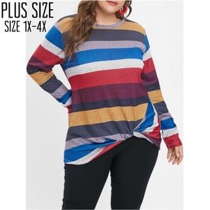 Tops - Plus Size Twist Hem Long Sleeve Tee